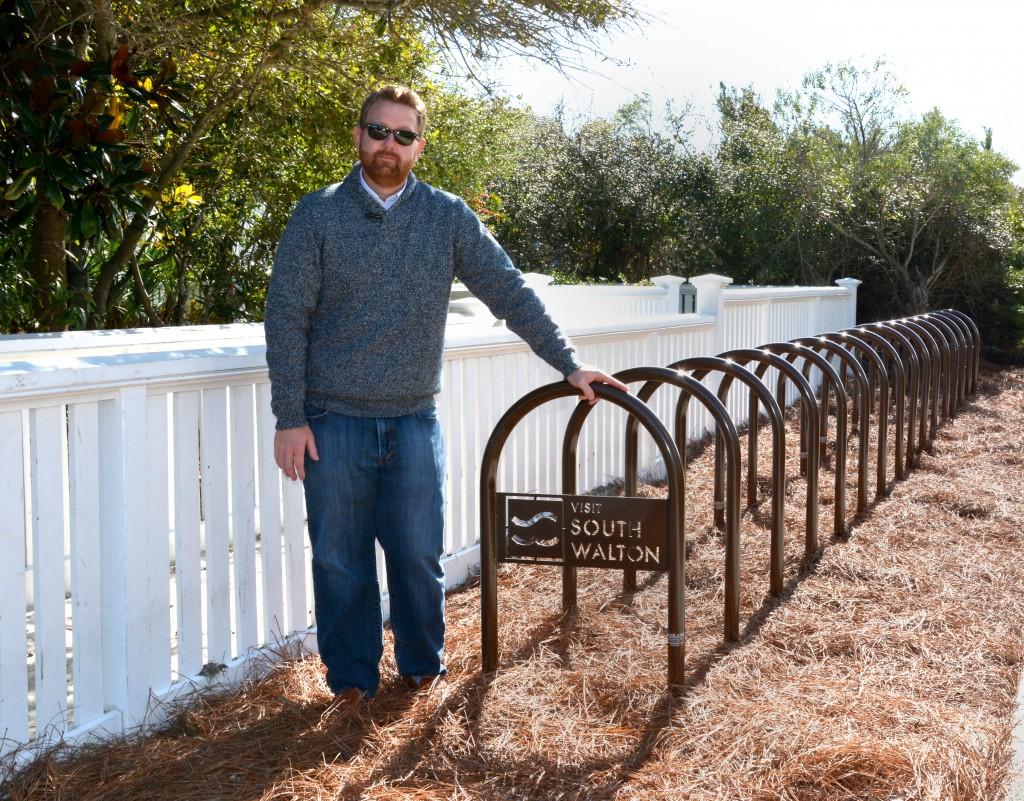 Josh Ervin, Beach Maintenance Manager, with Walton County custom bike racks