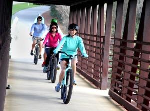 bridge bicycle riders