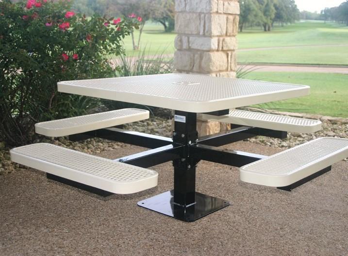 Good Metal Picnic Table Square Pedestal