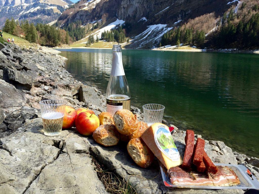 picnic table by lake